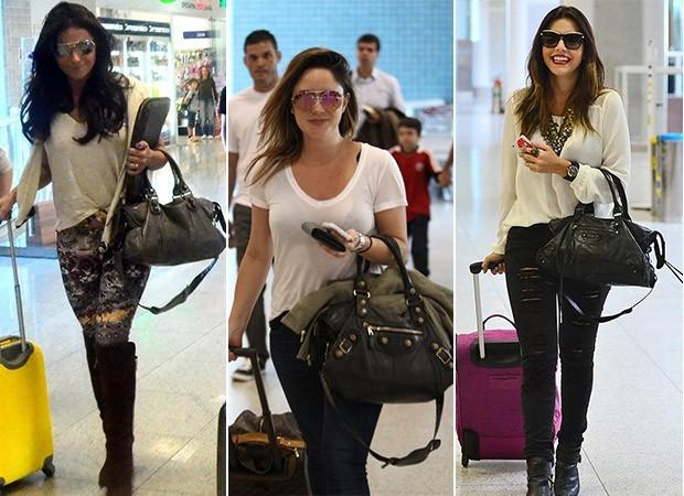 Famosas não abrem mão de bolsas de grife na hora de viajar. Veja looks