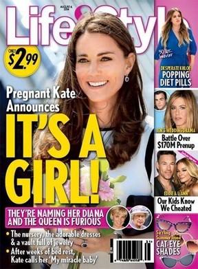 Kate Middleton est esperando uma menina, diz revista