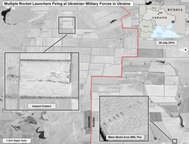 EUA divulgam imagens que supostamente mostram disparos russos contra Ucr穗ia