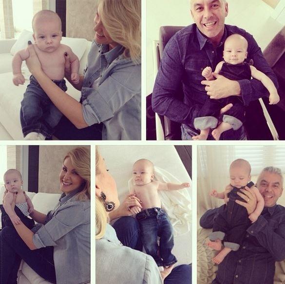 Ana Hickmann posta montagem de fotos com filho e marido