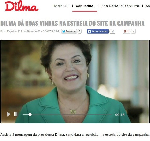 Dilma estreia site e diz que campanha será das mais