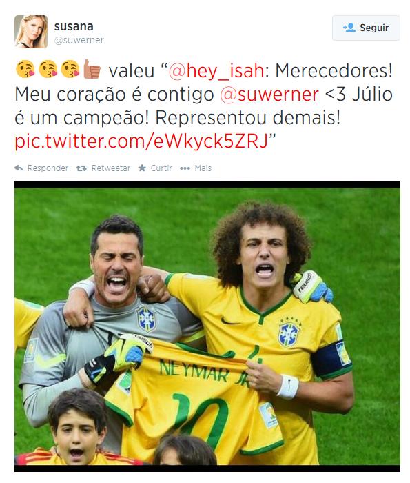 Susana Werner agradece apoio de fã após derrota do Brasil na Copa