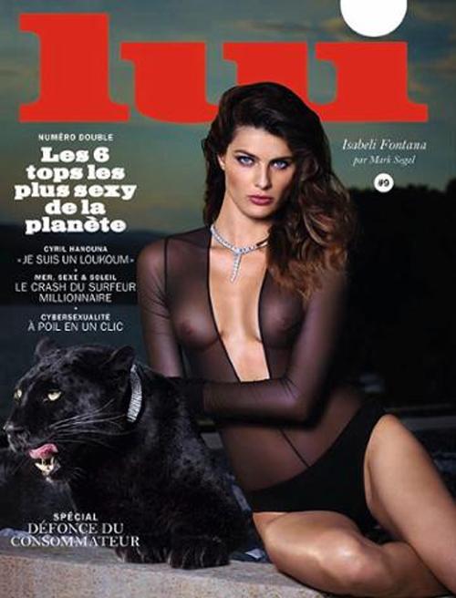Usando um body transparente, Isabelli Fontana posa sexy para uma revista