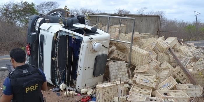 Caminhão com seis toneladas de frango tomba na BR-402 e deixa três feridos
