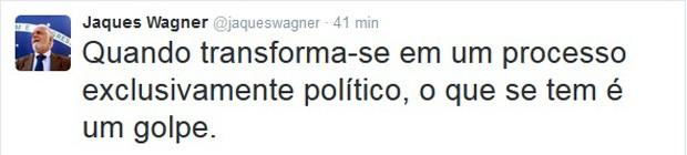 Ministro Jaques Wagner comentou na sua conta do Twitter (Crédito: Internet)