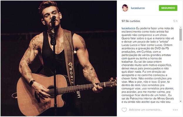 Lucas Lucco desabafou em sua conta na rede social (Crédito: Instagram)