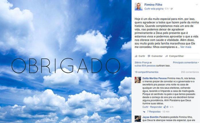 Prefeito Firmino agradeceu aos teresinenses (Crédito: Reprodução/Facebook)