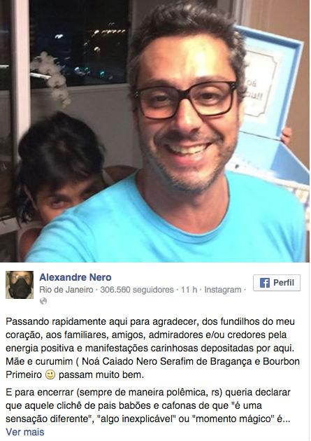 Alexandre Nero (Crédito: Reprodução/ Facebook)