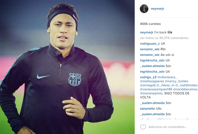 Neymar publica volta em foto no Instagram (Crédito: Reprodução)