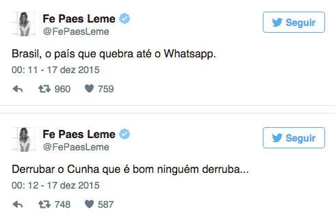 Twitter Fernanda Paes Leme (Crédito: Reprodução/Twitter)