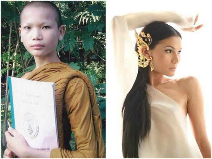 Mimi antes como monge, e agora, como modelo