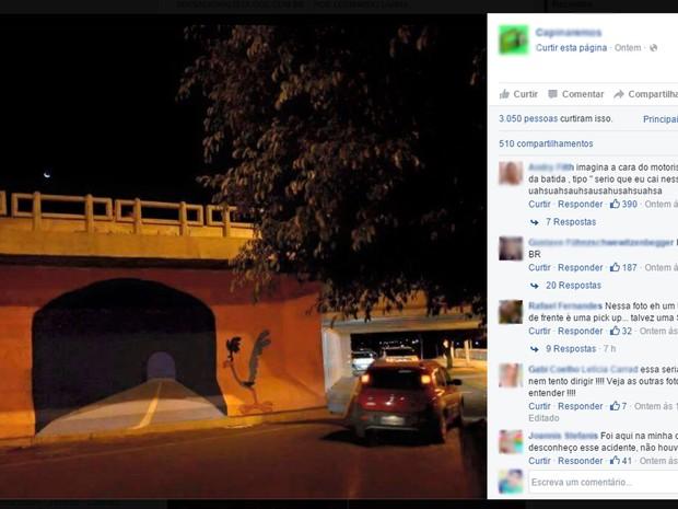 Foto da pintura em parede de ponte viralizou nas redes sociais (Crédito: Reprodução/Facebook)