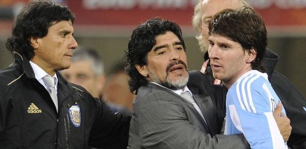 Diego (Maradona) e Lionel Messi (Crédito: AFP)