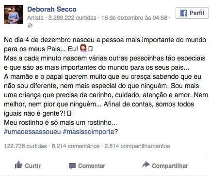 Post Debora Secco (Crédito: Reprodução / Facebook)