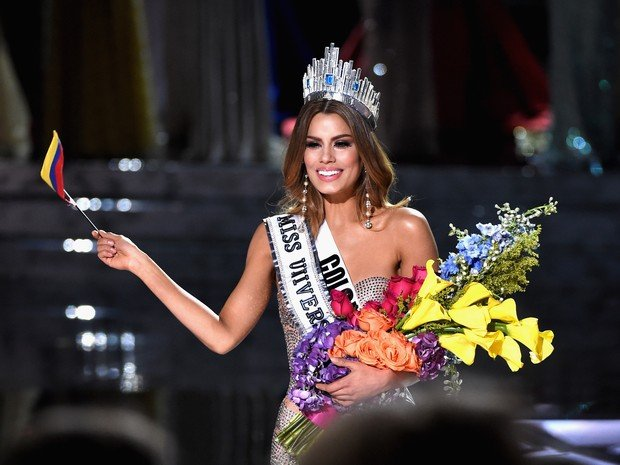 Ariadna Gutiérrez, da Colômbia, chegou a ser anunciada como vencedora do Miss Universo (Crédito: AFP )