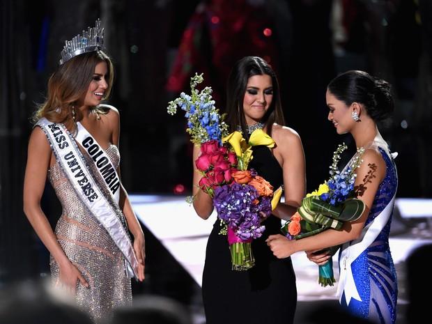 Ariadna Gutiérrez, Paulina Veja e Pia Alonzo Wurtzbach no Miss Universo em Las Vegas (Crédito: AFP )