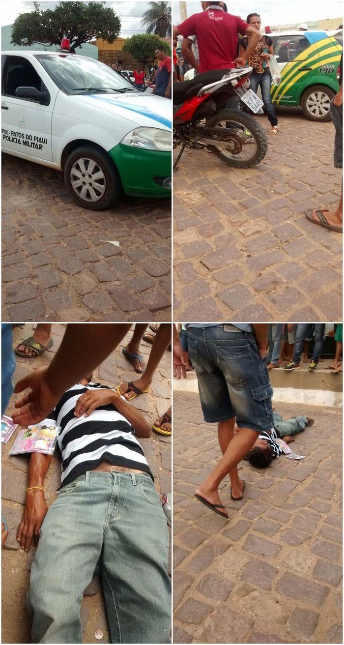 Com os tiros houve confusão e um homem caiu da calçada (Crédito: cidadesnanet)