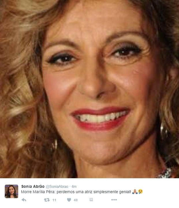 """Famosos lamentam morte de Marília Pêra: """"tristeza no coração"""""""
