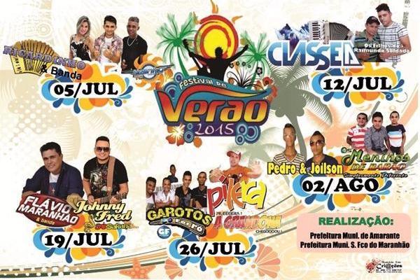 """2º domingo ( 12/07 ), do """"Festival de Verão"""" – 2015 confira ás atrações!"""