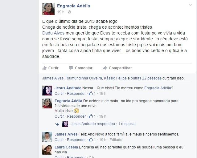 Nas redes sociais, amigos e familiares lamentaram a morte de Dadu Alves, conhecido por Dadinho