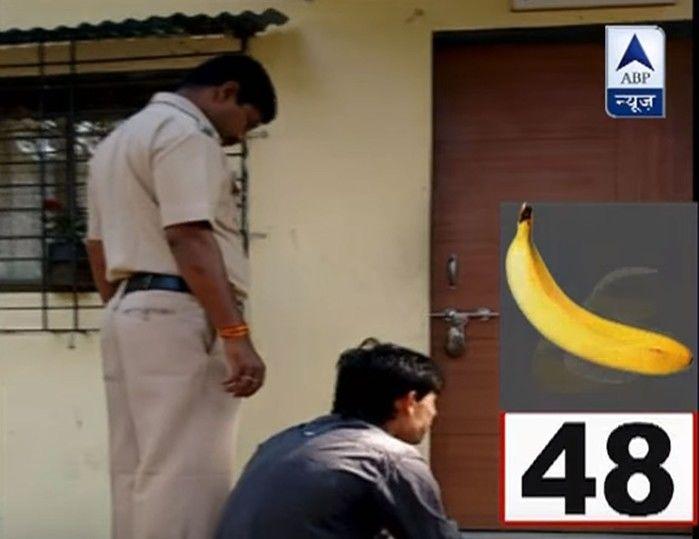 Agência indiana ABP News mostrou o ladrão comendo mais de 40 bananas até expelir a corrente de ouro  (Crédito: Reprodução/Youtube/ABP News)