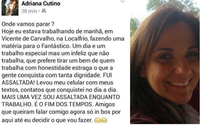 Adriana Cutino relata assalto pelo facebook