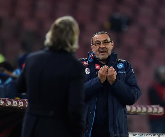 Maurizio Sarri e  Roberto Mancini discutiram na semifinal da Copa da Itália