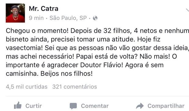 Facebook Mc Catra (Crédito: Reprodução / Facebook)