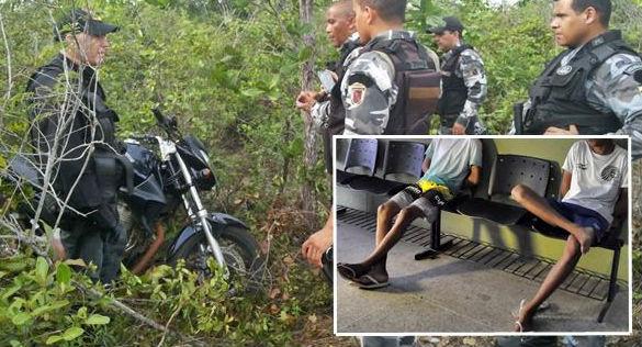 Menores de 16 são apreendidos e moto é recuperada em matagal