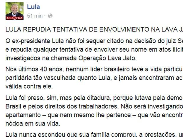 Lula faz publicação na sua página  (Crédito: Divulgação)