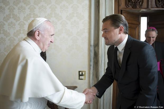 Leonardo DiCaprio e Papa Francisco (Crédito: Reprodução)