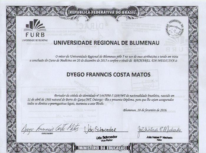 Diploma de Médico (Crédito: CRM-PI)