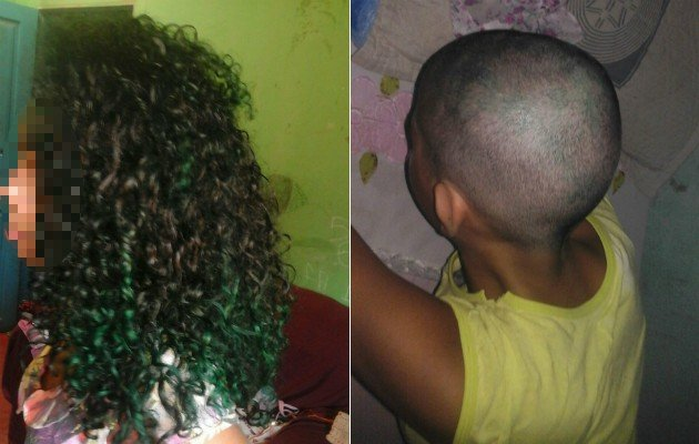 Menina teve o seu cabelo raspado pelo pai (Crédito: Reprodução)