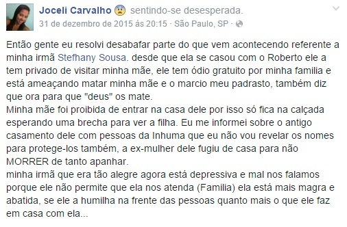 Post Joceli Carvalho (Crédito: Reprodução/Facebook)