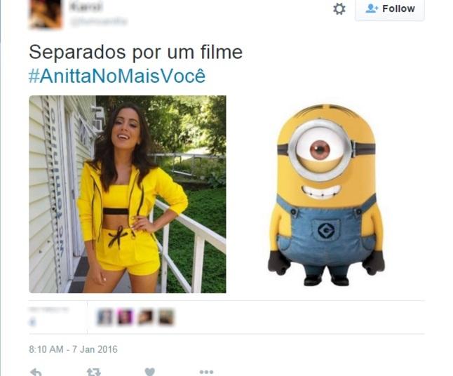 Anitta foi comparada ao Minion