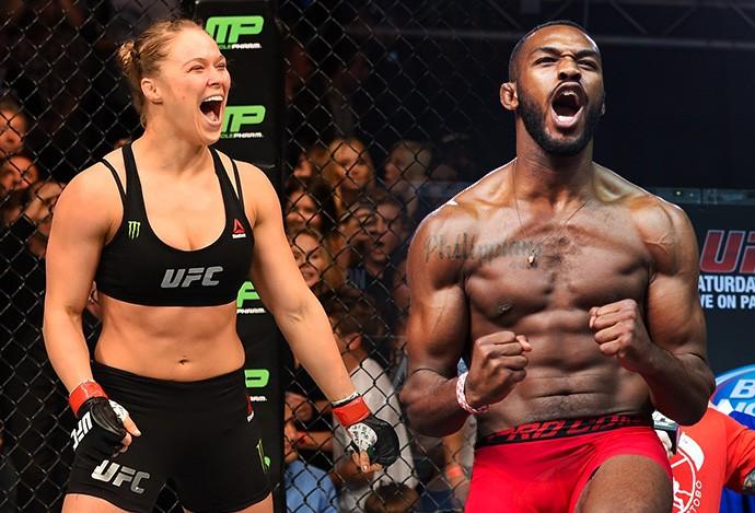 Ronda Rousey e Jon Jones (Crédito: Reprodução)