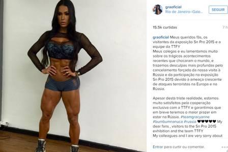 Empresa Russa processa Gracyanne Barbosa por quebra de contrato