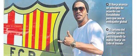 Ronaldinho faz acordo com Barcelona para título de embaixador