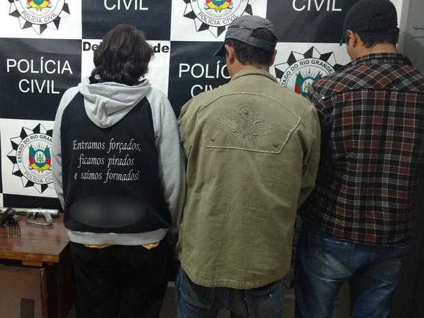 Os três acusados de matar Demétrio Piardi da Silva, de 62 anos (Crédito: Divulgação)