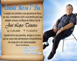 Família convida para Missa de Sétimo Dia de José Lopes Teixeira