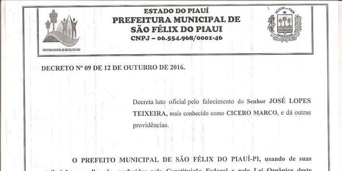 Prefeitura Municipal decreta luto pelo falecimento de Cicero Marco