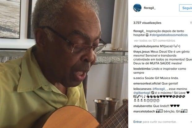 Gil canta música para sua médica em vídeo publicado pela mulher dele, Flora (Crédito: Reprodução)