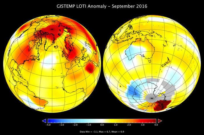Mapa da temperatura na Terra em setembro de 2016 (Crédito: Nasa)