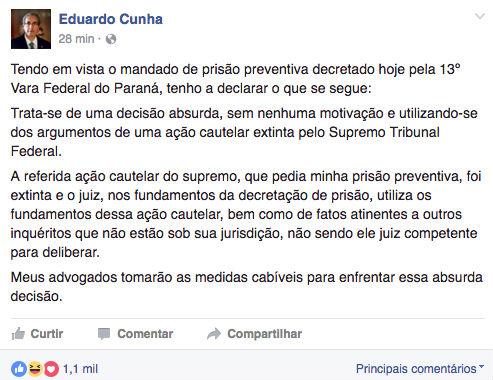 Eduardo Cunha é preso em Brasília — Lava jato