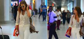 Marina Ruy Barbosa usa look de R$ 40 mil ao embarcar em aeroporto