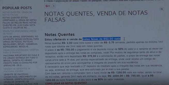 Quadrilhas de classe média vendem dinheiro falso pela internet (Crédito: Reprodução)