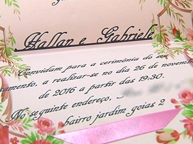 Convite de casamento do casal (Crédito: Reprodução)