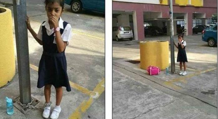 Menina foi acorrentada a um poste pela própria mãe