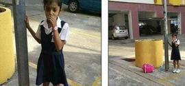 Como punição, mãe acorrenta filha de 8 anos a poste de luz