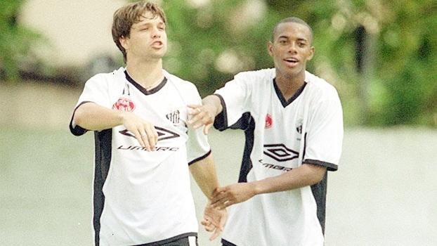 Diego e Robinho quando atuavam pelo Santos (Crédito: Reprodução)